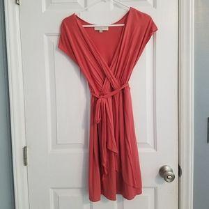 Ann Taylor Loft Coral Jersey Dress with Belt